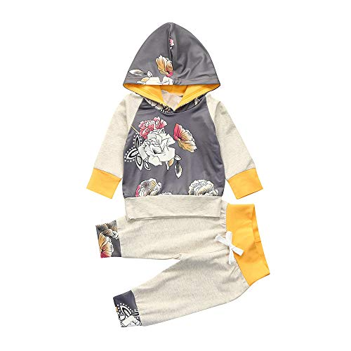 (Halloween Babykleidung 2PCS Set Baby Langarm Floral Print Print Top Langarmshirt Pullover Bodysuits + Diamond Print Hosen Yanhoo Kindermode Bekleidungsset 6~24M)