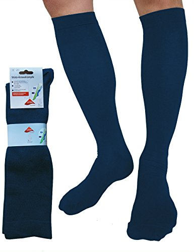 etrado fashion 1-4 Paar Reisestrümpfe mit gradueller Kompression für Damen & Herren - Handgekettelt (1 Paar / 39-42, Jeans)