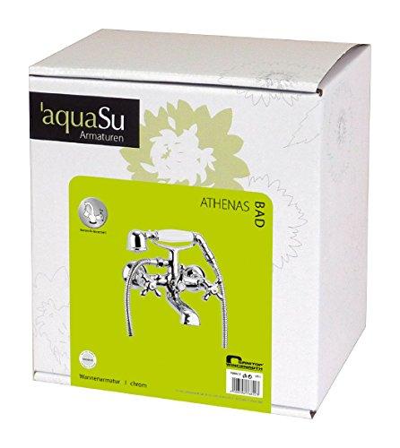 AquaSu – Badewannenarmatur, Zweigriffmischer Athenas inklusive Brausegarnitur, Chrom - 5