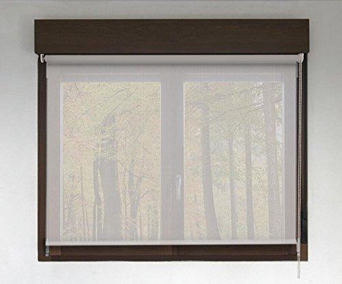 Estor Enrollable Screen Premium (Desde 40 hasta 300cm de Ancho - Permite Paso de luz y Ver el Exterior sin Que lo vean). Color Perla Lino. Medida 160cm x 140cm para Ventanas y Puertas