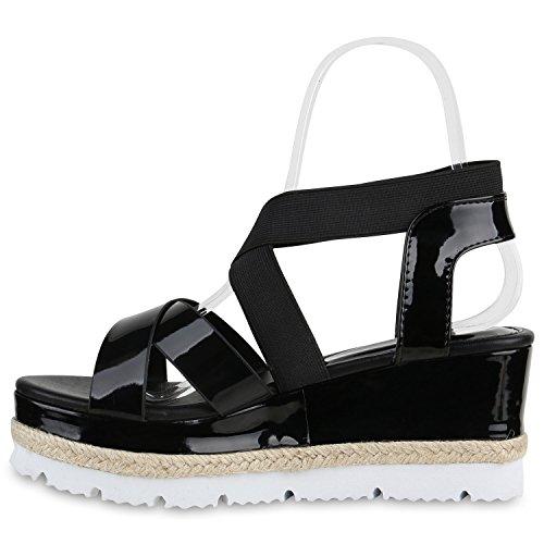 Damen Keilsandaletten Bast Sandaletten Weiße Profilsohle Wedges Schwarz Schwarz