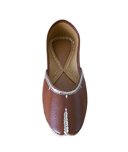 kalra Creations Chaussures de Parti synthétique indien traditionnel pour femme Marron