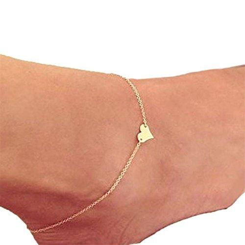 Moonuy Mädchen Knöchel 2018 Mode heißer Verkauf einfache Herz Knöchel Armband Kette Strand Fuß Gold Sandale Legierung Schmuck für weibliche Freunde (A)