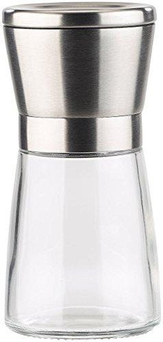 PEARL Manuelle Gewürzmühle mit Keramik-Mahlwerk, Glas und Edelstahl, 13 cm