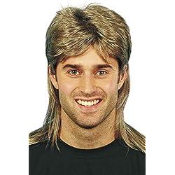 Smiffys Perruque nuque longue, brune, avec balayage blond Taille Unique