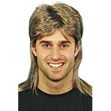Smiffys Mullet Wig with Blonde Highlights - Brown