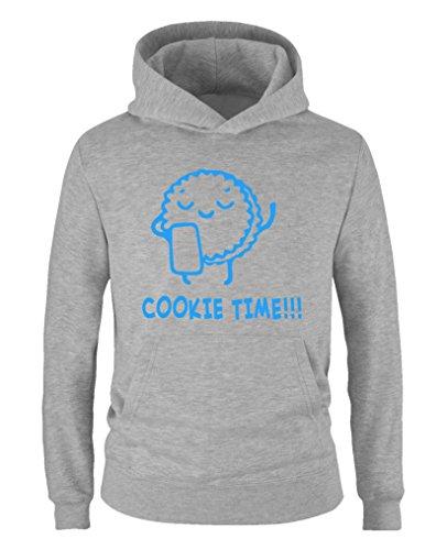 Comedy Shirts - Cookie time! Keks - Jungen Hoodie - Grau / Blau Gr. - Wanderer Cookies