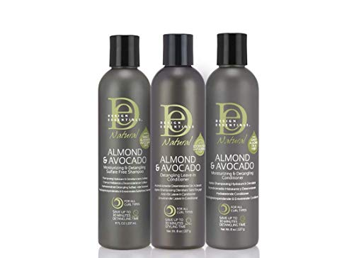 Feuchtigkeitsspendende Trio (Design Essentials Moisturizing and Detangling Collection | Black Hair Shampoo, Conditioner and Leave-In Conditioner | Style Guide)