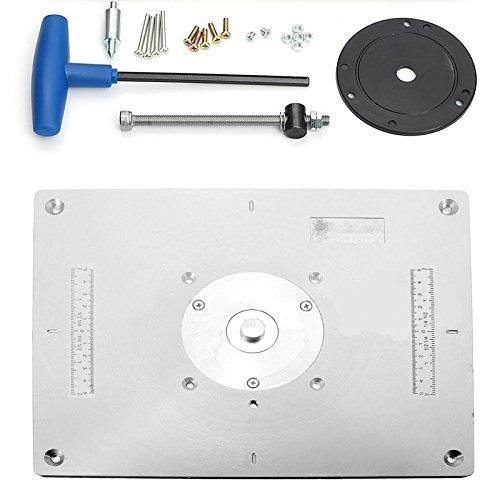 FireAngels Aluminium-Oberfräser Tisch-Einsatz Platte für Holzfräser Trimmer Modelle Gravurmaschine DIY Holzbearbeitungsbank mit Einsteckring