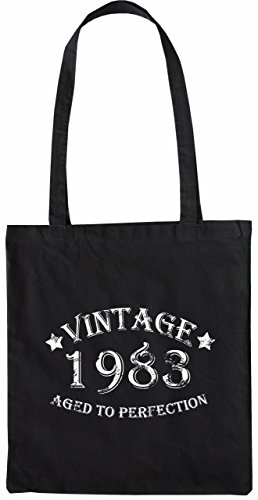 Mister Merchandise Tote Bag Vintage 1983 - Aged to Perfection 32 33 Borsa Bagaglio , Colore: Nero Nero