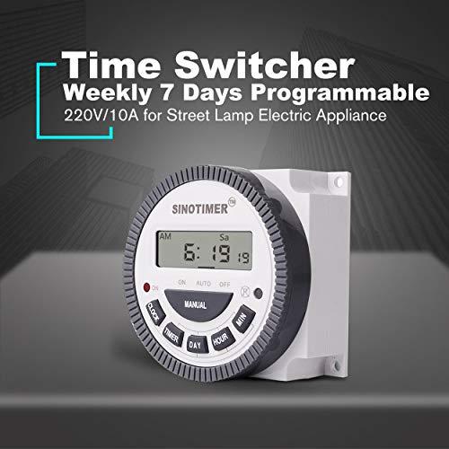 Lorenlli Ajuste SINOTIMER 220V 10A Semanal 7 días Interruptor de tiempo digital programable Control del temporizador de relé para aparatos eléctricos con reloj despertador