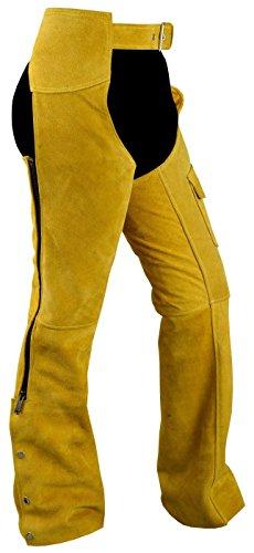 Chaps Hose Reiter Cowboy Indianer Western Lederchaps Lederhose Ocker, Größe:54 (Hose Chaps)