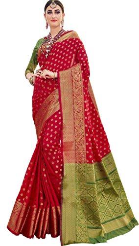 EthnicJunction Women's Banarasi Silk Saree with Booti Zari Thread Work and Blouse Piece, Free Size (Kumkum Red, EJ1178-07978R)