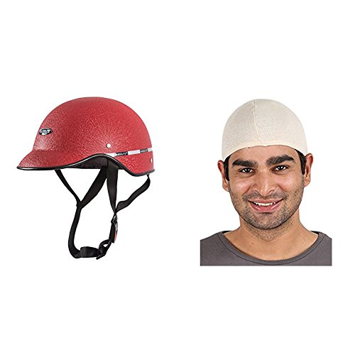 Autofy Habsolite All Purpose Safety Helmet with Strap for bikes (Red, Free Size) and Autofy Unisex Multipurpose Hair Protector Dust Pollution Skull Cap (Biege) Bundle