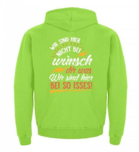 Shirtee Hochwertiger Kinder Hoodie - Wir Sind Hier Nicht Bei Wünsch Dir was. Wir Sind Hier Bei So Isses! Lime Green