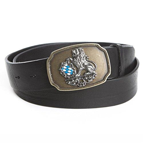 Der Trachtler Oktoberfestschnalle | bayrischen Löwen-Schließe mit Schwarzem Gürtel von, Länge:110 cm, Farbe:Schwarz