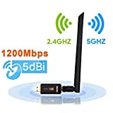 Maxdigi Adattatore WiFi 1200 Mbit/s Dual Band (5G/866Mbps + 2.4 G/300Mbps) 5dBi Antenna WLAN Stick Wlan Adapter USB 3.0 ,Wireless Dongle Wifi per Desktop/PC/Laptop Windows 10/8.1/8/7/XP/Vista MAC OS