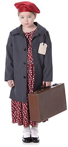 Evacuee Mädchen WW2 WWII 30s 1940s Buch Tages Kinder Kostüm Neu (Small 4 -6 Jahre)