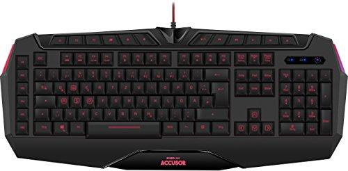 Speedlink Gamer Tastatur für PC / Computer - Accusor Advanced Gaming Keyboard USB (bis zu 18-Tasten-Rollover-Technik - 6 programmierbare Makro-Tasten - Ultrapolling bis 1000 Hz) schwarz