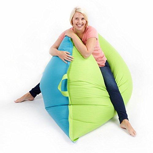 Fun!ture Large Adult 2-Tone Bean Bag Slab Floor Cushion, 140 x 180 cm, Turquoise / Lime