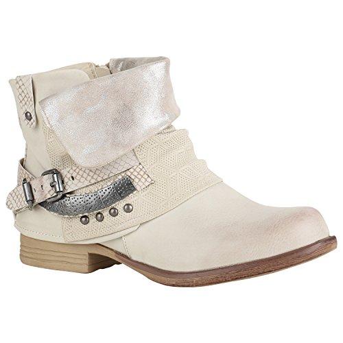 Damen Glitzer Stiefeletten Bequeme Nieten Biker Boots 151459 Creme Silber Camiri 38 Flandell