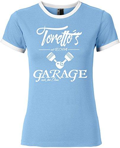 EZYshirt® Toretto´s Garage Damen Rundhals Ringer T-Shirt Hellblau/Weiss/Weiss
