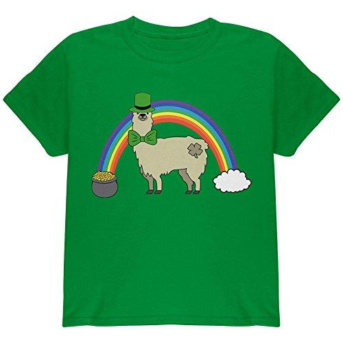 Old Glory St. Patrick's Day Llama Cute Pot of Gold Youth T Shirt Irish Green Youth X-SM (T-shirt Youth Day Patricks)