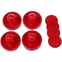 BKAUK 4 porteros de mesa de hockey de aire con 4 discos de fieltro, agarre de color rojo