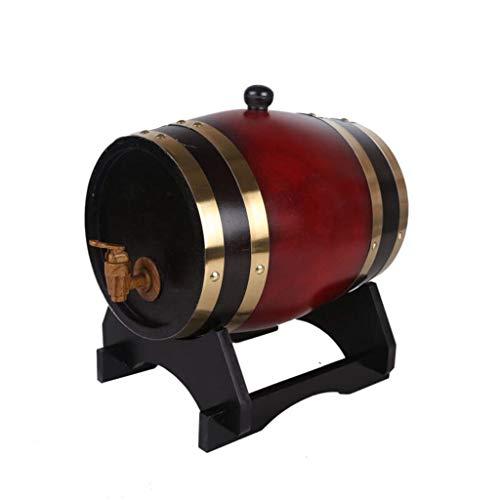 SS Oak barrel Eichenfass Eichenfässer, Weinfässer, Fässer, Fässer, Apfelwein, Whisky, Zierfässer, 5 Liter Liter Wein, Bier, Apfelwein, Whisky (Farbe : Rot) - 5-liter-eichenfass