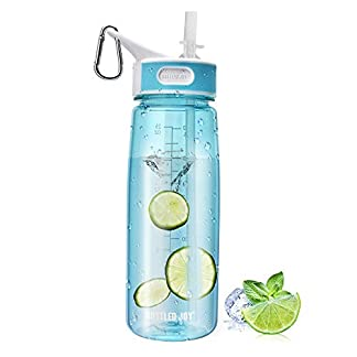 BOTTLED JOY Sports Water Bottle with Straw and Handle, 100% BPA-Free DustProof Cap Water Bottles for Outdoor Hiking Camping 27oz 800ml 5