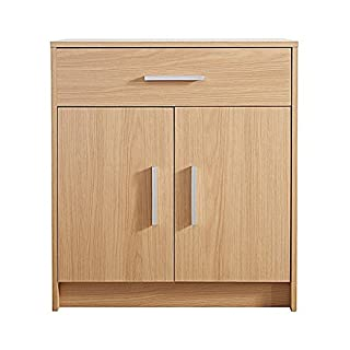 AoE Performance 2 Door 1 Drawer Sideboard Cupboard In Oak Effect Norbury Contemporary Design Home Furniture Silver Handles