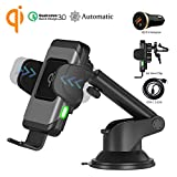 Wefunix Qi Chargeur Sans Fil Rapide Voiture Automatic Clamping Fast Wireless Car Charger Quick Charge QC 3.0, 7.5W pour iPhone XS Max XR X 8 plus, 10W pour Samsung Galaxy S10 S9 S8 Note 9/8 etc - CC70