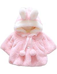 44dfe1593597 Nordira Bébé Fille Oreille de Lapin à Capuche Chaud Doux Manteau Pompon  Bowknot Vêtements d hiver Rose 0-6…