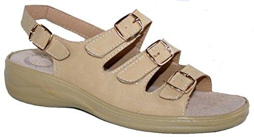 Donna Cushion Walk leggero regolabile cinghie sandalo estivo con tacco in schiuma Memory Biege