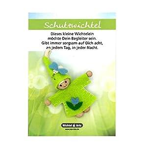 Wichtel Arts Schutzwichtel Glücksbringer, Holz, Grün Mit Blauer Blume, 15 x 10.5 x 2.7 cm