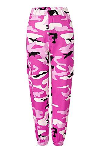 Hippolo Camouflage Hose Frauen Lange Hose Drucken Elastische Taille Casual Camo Hose Pant Harajuku mit Tasche (L, Pink) Taille Camo