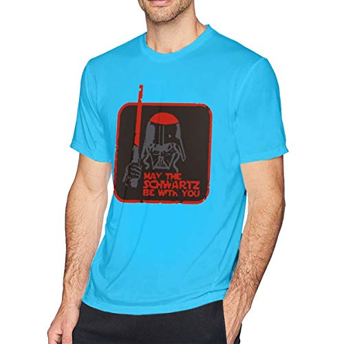Men's Cotton Short-Sleeved T-Shirt Spaceballs May The Schwartz Be with You Spider Baby Blue 3XL - Black Spider-shorts
