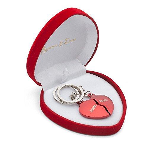 Remmo&Love Geteiltes Herz ROT HERZBOX Partner Schlüsselanhänger individuelle Gravur Herz-Box Geburtstag Valentinstag Geschenk