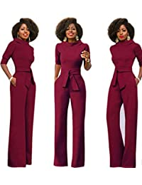 18376303940 Tempt Me Women Elegant High Waist Jumpsuits Stand Collar Half Sleeve Wide  Leg Long Pants Rompers ...