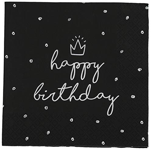 khevga Servietten aus Papier Geburtstag Happy Birthday weiß schwarz (40)