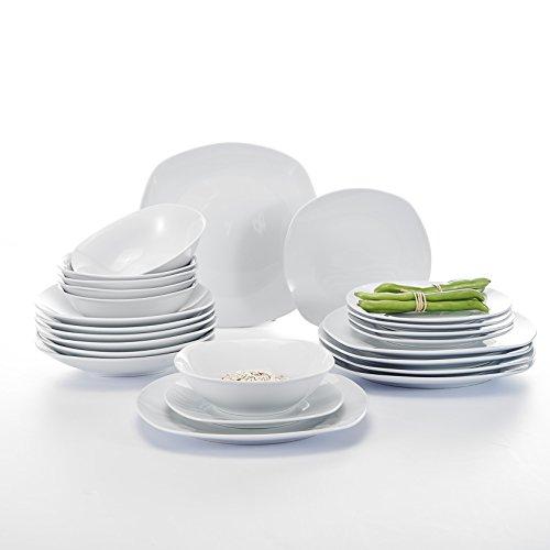 Malacasa, Serie Elisa, 24 teilig Porzellan Tafelservice Kombiservice Geschirr Set, 6 Dessertteller, 6 Suppenteller, 6 Flachteller und 6 Müslischale für 6 Personen