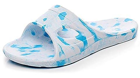 Schlupfhalsband Hausschuhe rutschfeste Dusche Sandalen Beach Mule EVA-Sohle Pool Schuhe Badezimmer Slide für Erwachsene, hellblau, 38,5