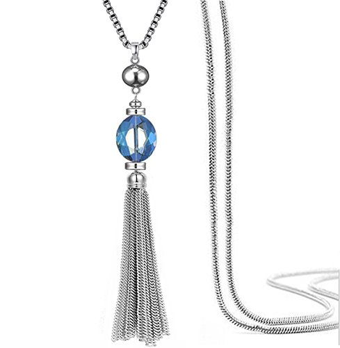 Quasten lange Pullover Kette Anhänger Halskette transparenter Kristall Bohème-Stil für Frauen (Blau) -