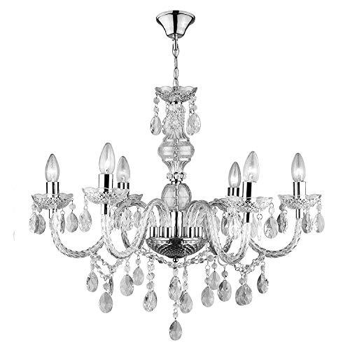 Lampadario In Vetro Cristallo Con 6 Punti Luce, Lampadine LED, Gocce Decorative, Ideale Per Salone, Soggiorno 58 x 58 x 59 cm