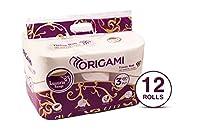Origami Luxuria 3 ply Toilet TIssue Roll - Pack of 12 rolls - 140 pulls per roll - 1680 pulls