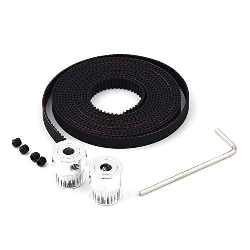 Huihuiya RepRap 2X GT2 20T 5mm Laufrollen & 2M Zahnriemensatz für 3D-Drucker Prusa-