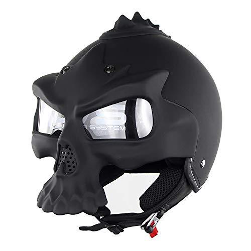 Swei Motorrad-Halbhelm Professional Dual Use Atmungsaktiv Harley Half Face Helme Totenkopfform (schwarz),XL