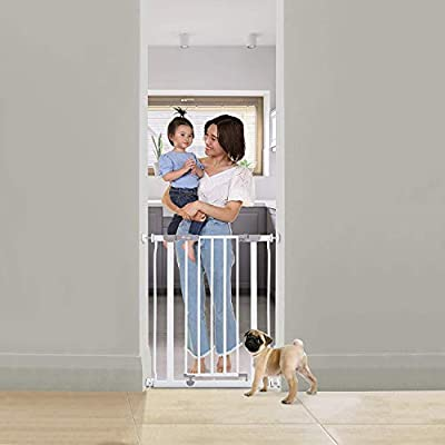 Dreambaby® Ava Slimline Narrow Stair Gate 61-68cm - White. Pressure Fitted Narrow Baby Gate, Suitable for Doorways, Hallways and Stairs