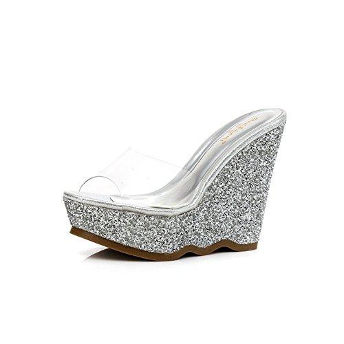 scarpe con piccolo/Estate Zeppe Sandali e ciabatte/Glitter trasparente tacchi piattaforma B