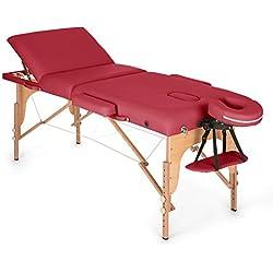 Klarfit MT 500 Camilla de masajes plegable 210cm 200 kg (Fácil transporte, altura cama regulable, respaldo inclinable 9 niveles, apoyacabezas y reposabrazos extraíbles, banco masaje profesional, revestimiento 10 cm espuma, incluye bolsa, mesa masaje portátil roja)
